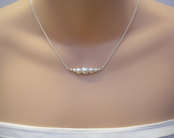 Handmade Pearl bar necklace, pearl beaded necklace, bridesmaid necklace, pearl chain necklace, necklace for layering  (b1)