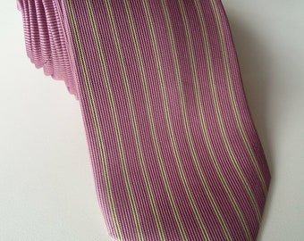 Vintage Duchamp jacquard striped necktie in pink and cream