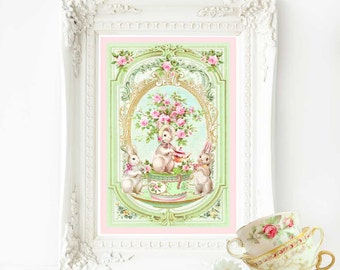 Rabbit print, nursery print, white rabbit, Easter decor, vintage tea party, A4 Giclee