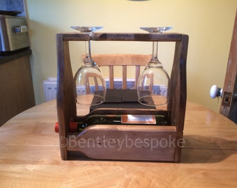 rustic wine and glass carrier wooden picnic caddy