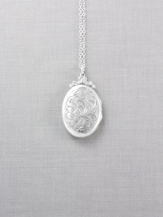 Sterling Silver Locket Necklace, Hand Engraved Canadian Maker WRJ Vintage Photo Pendant - Simply Beautiful