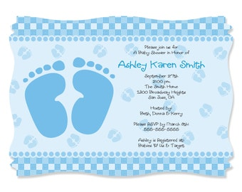 Baby Feet Blue Custom Invitations - Printed Personalized Baby Shower Supplies - Set of 12