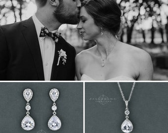 Wedding Jewelry Set Crystal Wedding Earrings Necklace Brida Jewelry Teardrop Bridesmaid Gift Bridal Set Classic Silver Rose Gold