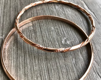 Rose Gold Bangle Set - Handmade Twist and Half Round - Custom Sizes and Options
