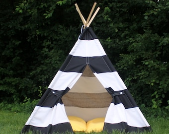 Childrens Teepee Play Tent, Two Sizes, Can Include Window, Playhouse, Black and White Extra Wide Stripes,Kids Tent, Kids Teepees, Tee Pee