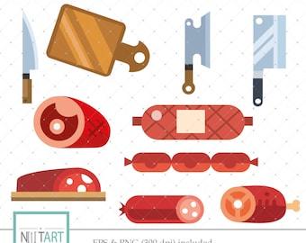 Meat clip art, meat shop slip art, vector graphics, butcher tools clip art, digital clip art, digital images -  CL 140