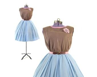 50s Dress, Blue 1950s Dress, Pastel, Day, Casual, Cotton Dress, Vintage Dress, Women Clothing,  Day Dress, Vintage Clothing Dresses