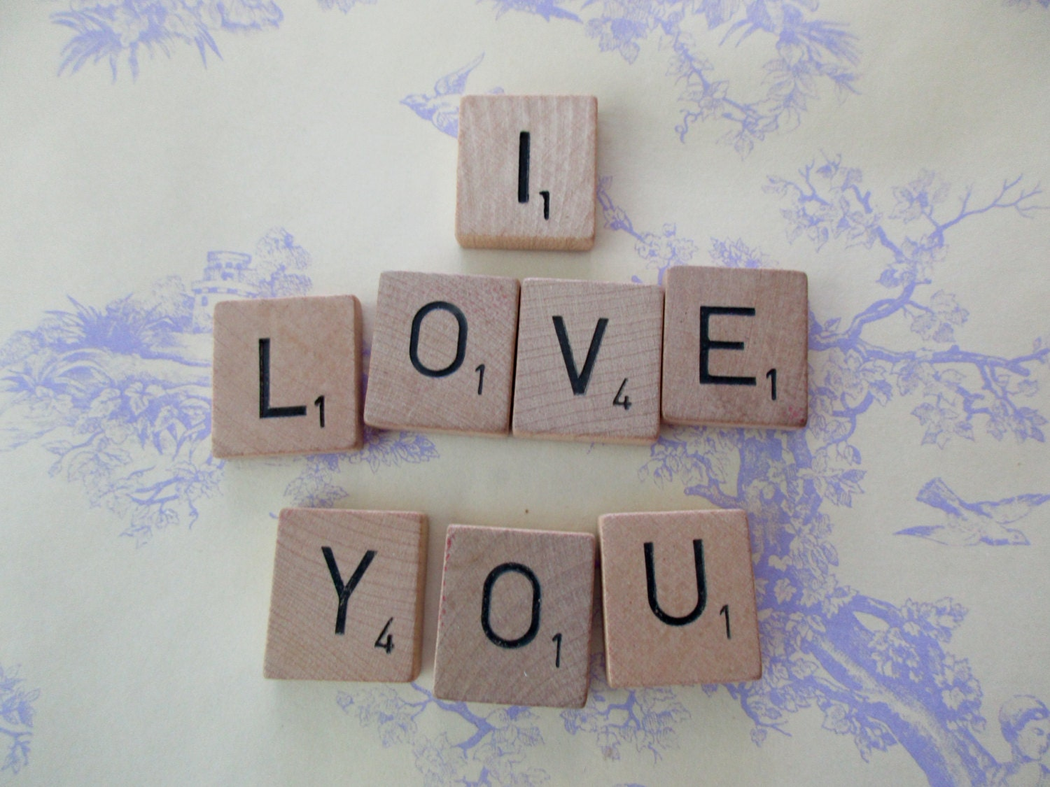 Vintage scrabble tiles 8 tiles i love you words letters sold by junquedujour dailygadgetfo Image collections
