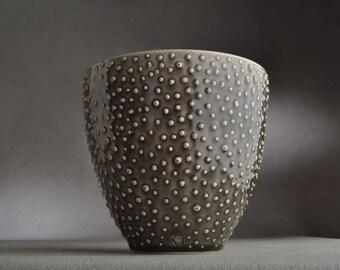 Ceramic Vase Ready To Ship Wheel Thrown Bowl Vase Utensil Holder by Symmetrical Pottery