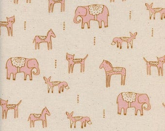 Fat Quarter Dala Friends Pink Flower Shop Collection for Cotton & Steel Fabrics, Elephant, Cat, Horse, Fox