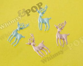 1 - Pink or Blue Enamel Reindeer Doe Charm Pendant, Deer Charm, Reindeer Charm, 25mm x 12mm (R10-023)