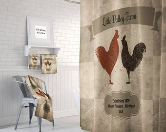 Farmhouse Shower Curtain,Primitive Chickens Custom Personalized, Bath Mat, Bath Towels