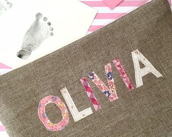 Personalized Diaper Clutch Your Choice of Color, Baby Shower Gift,