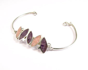 Sterling Silver Bracelet, Small Seeds,  Pink and  Purple Colors, Modern Design