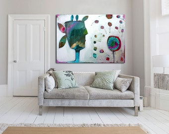"Large White abstract Print of painting with pink blue and white, giclée print painting ""I blown dandelion"""