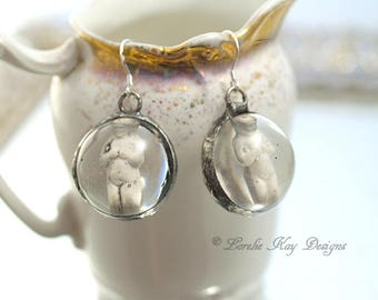 Tiny Frozen Charlotte Doll Earrings Soldered Resin Dome Dangle Petite Earrings Lorelie Kay Original