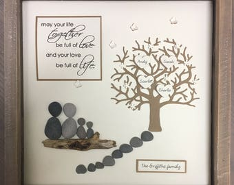Personalised Family Tree picture Mothers Day gift Pebble art Family Anniversary New Parent Gift for Mum