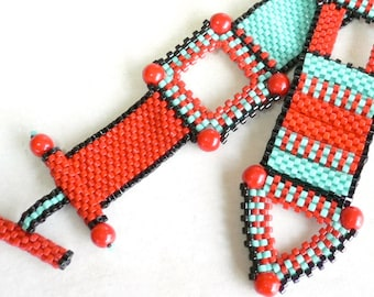 Red Zinger beadweaving geometric cuff bracelet tutorial and instructions: Instant Downloadable Pattern PDF File