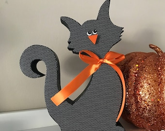 Halloween Cat, Wooden Decoration