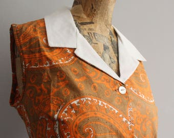 Vintage Dress, 1960s Dress, Groovy Dress, Orange Cotton, Psychedelic Print, 1960s, Unworn, Vintage Pinafore, Orange Psychedelic, Groovy