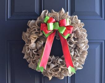 Burlap Ruffle Wreath with classic Christmas Bow