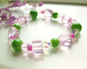 Pink and Green Small Girls Stretch Bracelet, GBS 133