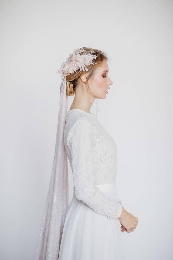 Vintage inspirierte Hochzeitskleid mit langen Ärmeln Spitze
