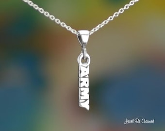"Sterling Silver Army Necklace with 16-24"" Chain or Pendant Only .925"