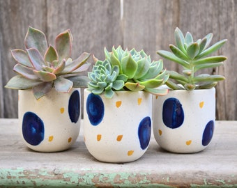 Set of Three Handmade Ceramic Blue and Gold Speckled Planters