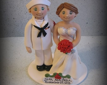 Wedding Cake Topper, Custom Wedding Topper, Sailor and Bride, Military, Bride and Groom, Personalized, Polymer Clay, Keepsake