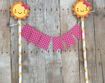 You Are My Sunshine Pink Cake Bunting with Optional Customizable Name for Birthday Party, First Birthday, Baby Shower, Girls Birthday,