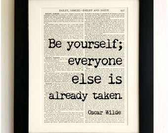 FRAMED ART PRINT on old antique book page - Be Yourself Quote, Oscar Wilde, Vintage Upcycled Wall Art Print Encyclopaedia Dictionary