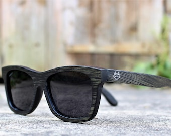 Paul Ven Fox Black Bamboo wooden sunglasses. Polarized Wood sunglasses, men women sunglasses FREE EU shipping. Handmade sunglasses