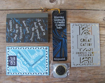 Gift pack for the Great Gatsby fan: small journal, cards, cut out card, bookmark and pin for the bookworm