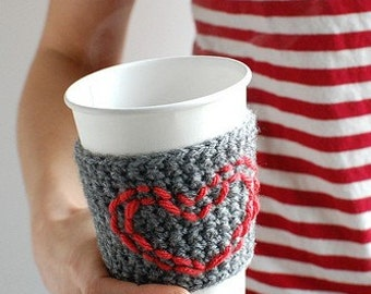 Red Heart Coffee Cup Sleeve, HEART Coffee Cup Cozy, Crochet, Reusable Coffee Cozy, VALENTINES by The Cozy Project
