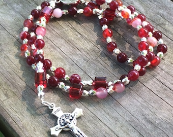 Striped red agate & silver rosary; Prayer beads; Scriptural;  Dominican Rosary; St. Benedict Crucifix Center Medal