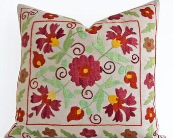 Hand Embroidery Silk Suzani Pillow Red Green Beige Suzani Pillow Suzani Pillow Cover Decorative Pillow, Throw Pillow, Accent Pillow