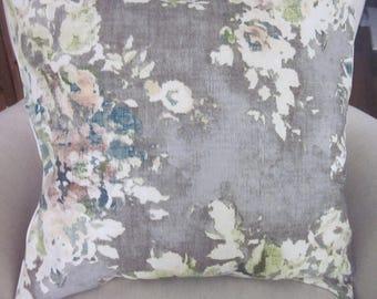 Grey Floral Pillow Covers, Linen and Cotton, Covington Venus Cindersmoke