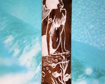 Original Hand Painted Mermaid -White on Natural Bamboo- Fantasy mermaid art- Beach decor