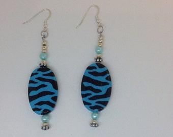 Blue Animal Print Earrings