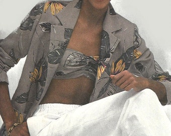 1980s Bandeau Pattern Pants Jacket Vintage Simplicity Uncut Sewing Women's Misses Size 12 Bust 34 Inches