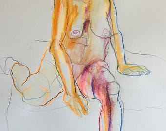 Original nude drawing mixed technique on paper 42x29.7 cm