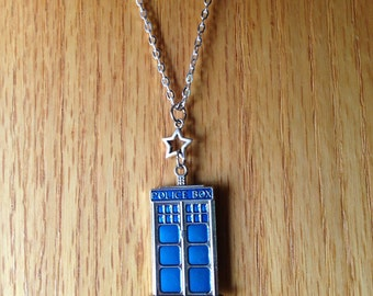 TARDIS Star Pendant Doctor Who Inspired Jewelry Sterling Silver Necklace Chain Blue Police Box Charm Whovian David Tennant Nerd Geek Gift