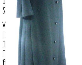 "Plus Size UK 16 Vintage 1960s Evening Swing Coat Black Wool Short Sleeves Jackie Mad Men EU 44 US 12 Bust 44"" 112cm"