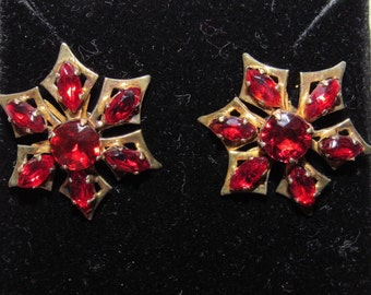 Vintage 1940/50 Red Crystal Earrings - converted to pierced from clip-on