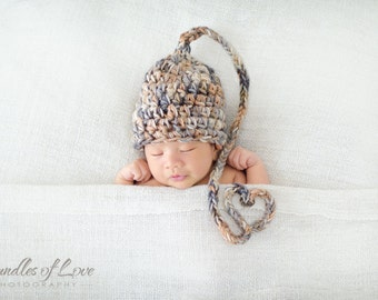 Newborn Elf Hat With A Cute Little Heart Tail, Newborn Photo Prop, Elf Hats for Newborns, Unique Baby Shower Gift, First Mothers Day Gift