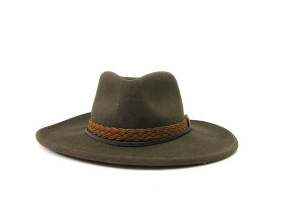 Dark Brown Wool Felt Cowboy Hat Mens Womens Western Cowgirl Cowboy Hat with leather Band Boho Vintage Eddy Hat Unisex Size Small