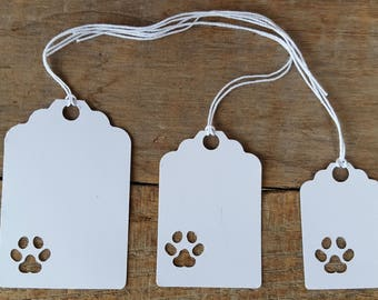 Paw print tags with string, gift tags, price tags, tags, birthday tags, Christmas tags