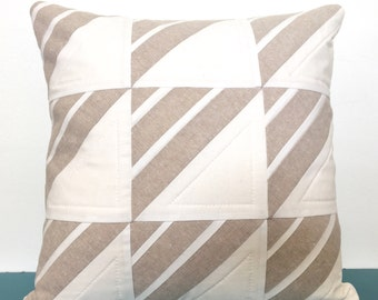 """16"""" Modern Quilted Pillow Cover • Divided Triangle Design in Natural"""