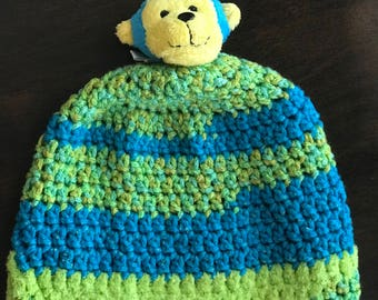 Hand made Hat Monkey toddler- child Size Beanie Gift Ready To Ship